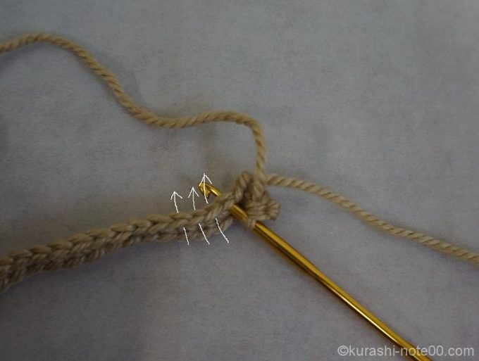 くさり編みを通すところガイダンス