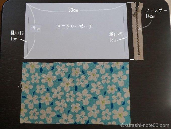 型紙と布、ファスナーのサイズ