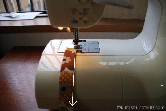 ミシンで持ち手を縫う