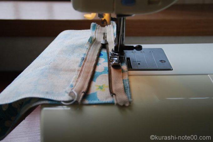 スライダーを移動させながら縫う