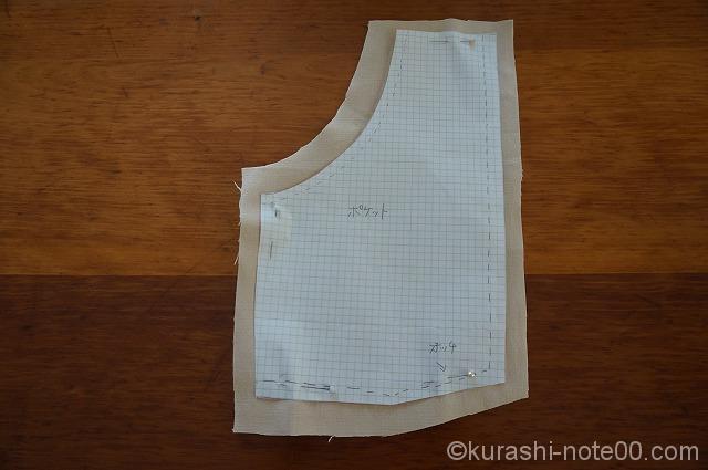 前ポケットの型紙と布