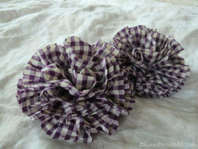 紫ギンガムチェックの布ブローチ
