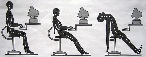 パソコンに向かう姿勢