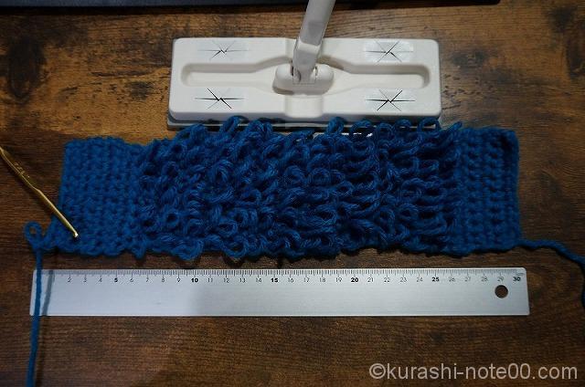 細編みとリング編みで仕上げる