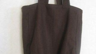 丸みを帯びた茶リネンの大きなバッグ作り方|イラストで解説