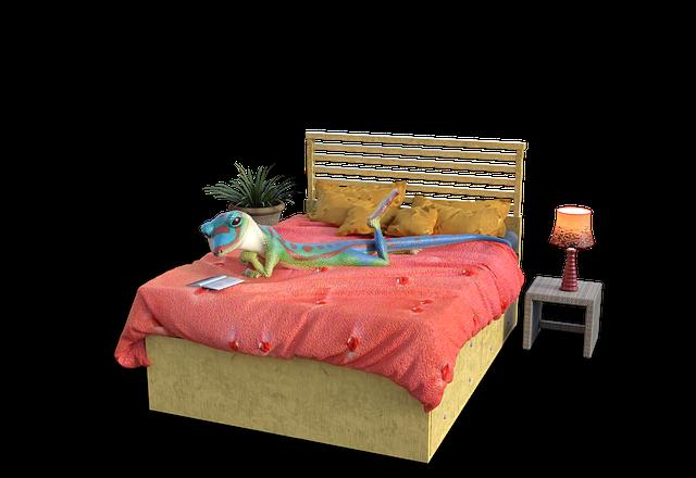 ベッドでくつろぐ