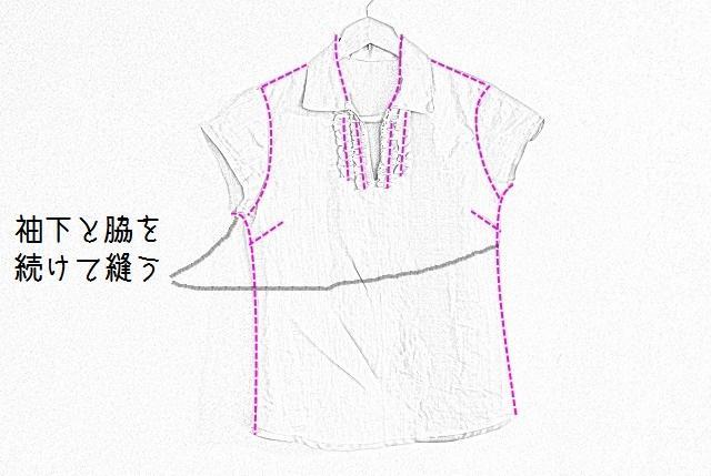 袖と脇を一緒に縫う
