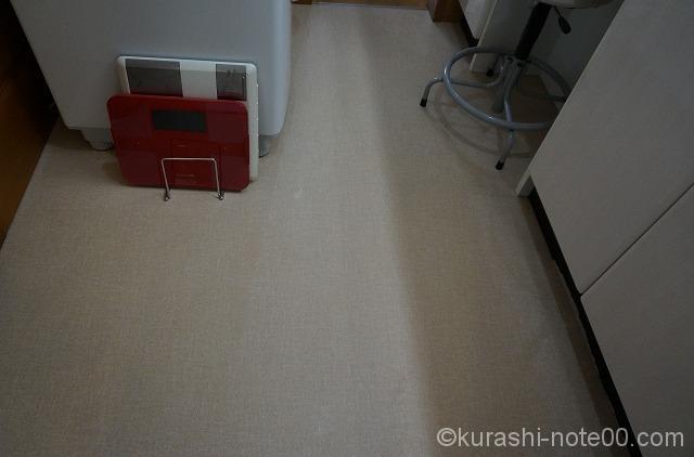 掃除後の洗面所の床
