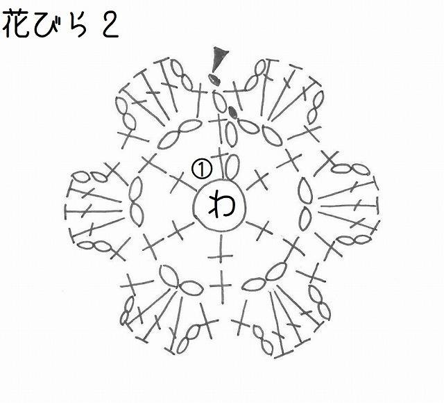 真ん中の編み図