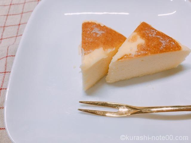 クリームチーズ蒸しケーキを冷凍してカット