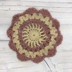 かぎ編みで作るコースター|円形のお花(長編み2目の玉編み詳しく説明)