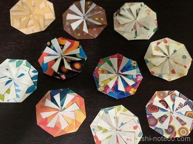 たくさんの八面体折り紙