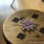 パールビーズをかぎ編みモチーフに編み込む方法