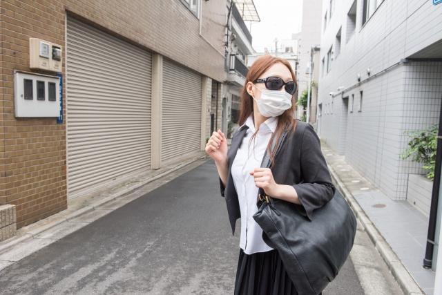 マスクとメガネで防備
