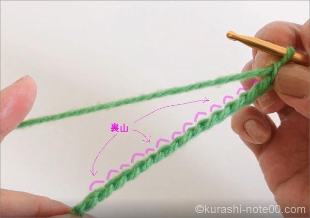 くさり編み裏山