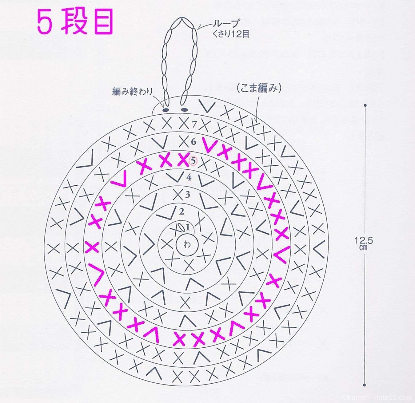 編み図5段目