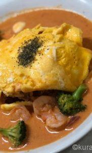 星乃珈琲の海老とモッツァレラチーズのトマトクリームオムライスドリアを自宅で簡単再現
