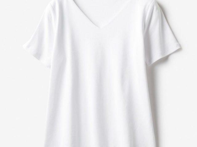ドゥクラッセTシャツ・深Vネック半袖ホワイト