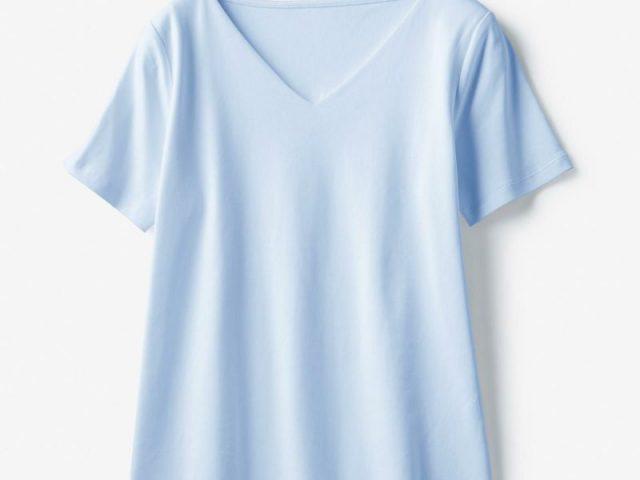 ドゥクラッセTシャツ・深Vネック半袖ベールブルー
