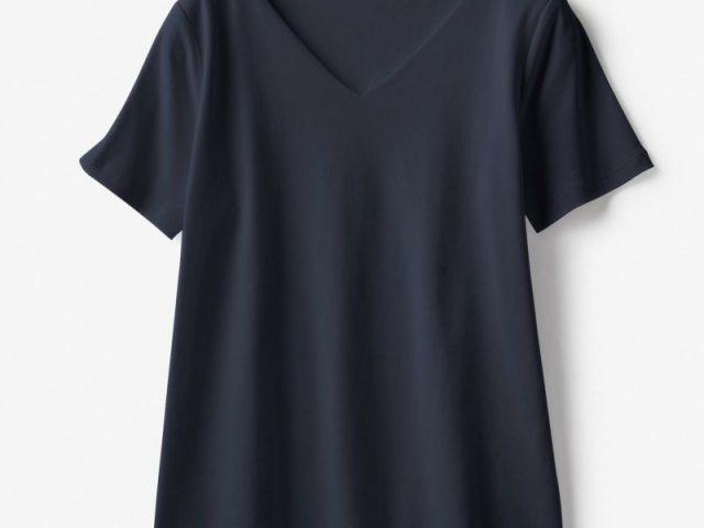 ドゥクラッセTシャツ・深Vネック半袖ミッドナイトブルー