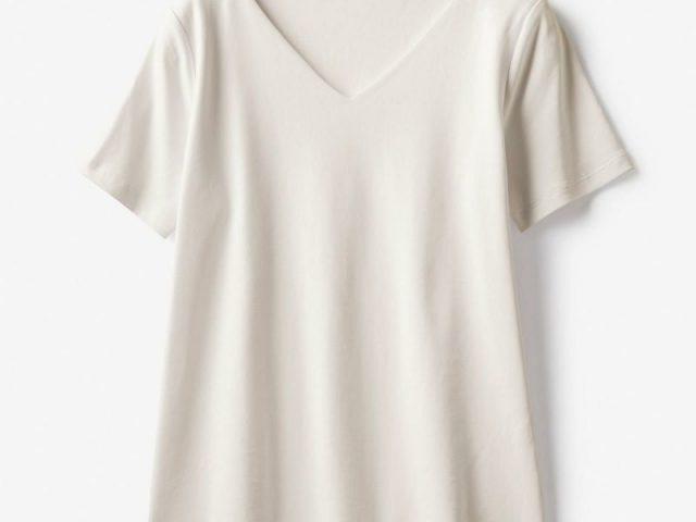 ドゥクラッセTシャツ・深Vネック半袖ライトグレー
