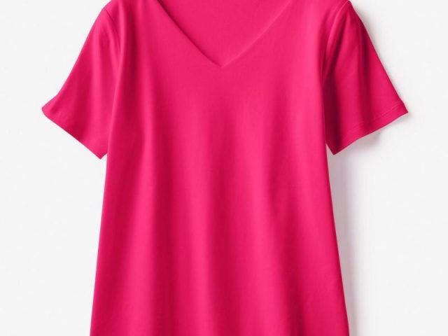 ドゥクラッセTシャツ・深Vネック半袖フューシャピンク