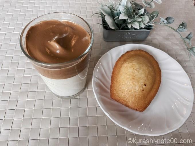 ダルゴナコーヒーとマドレーヌ