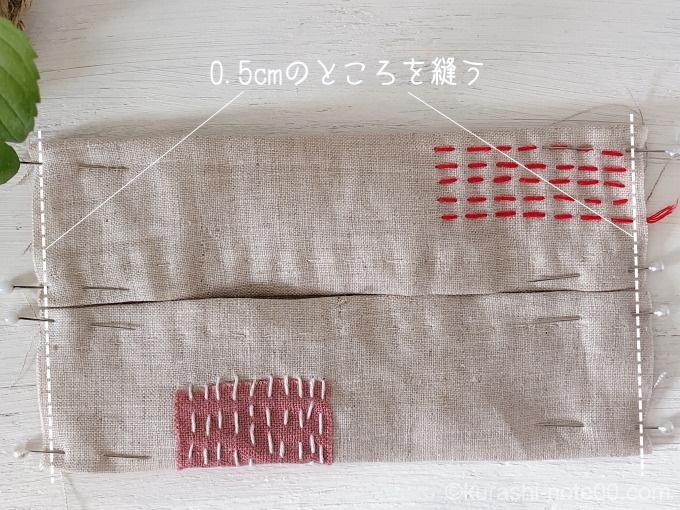 表側にして端を縫う