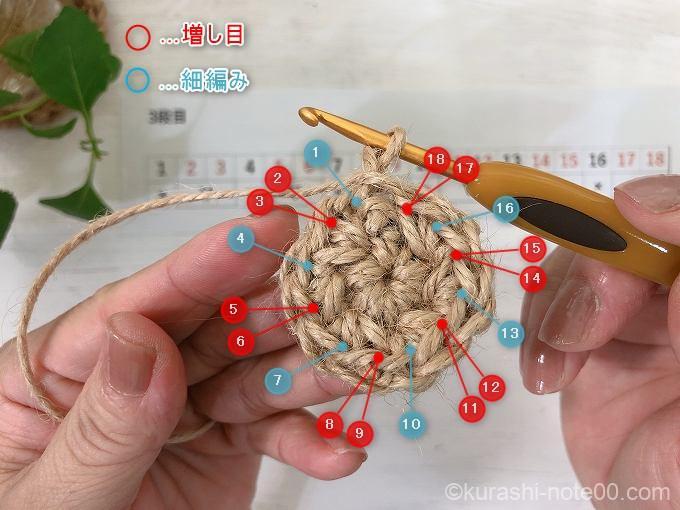 3段目の編み方