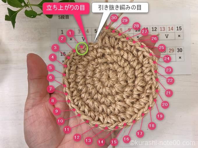 5段目の引き抜き編み
