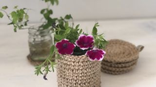 麻ひもで編む花瓶カバー|目を拾う箇所はどこ?うね編みで自立型