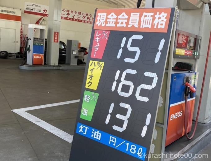 エネオスのガソリン価格