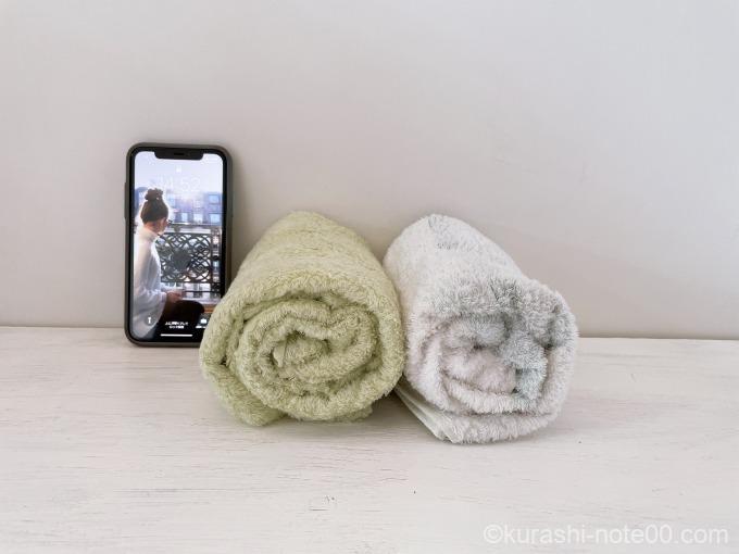 スモールバスタオルと携帯